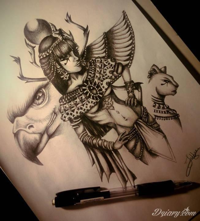 Egipskie symbole tatuaży na skórze