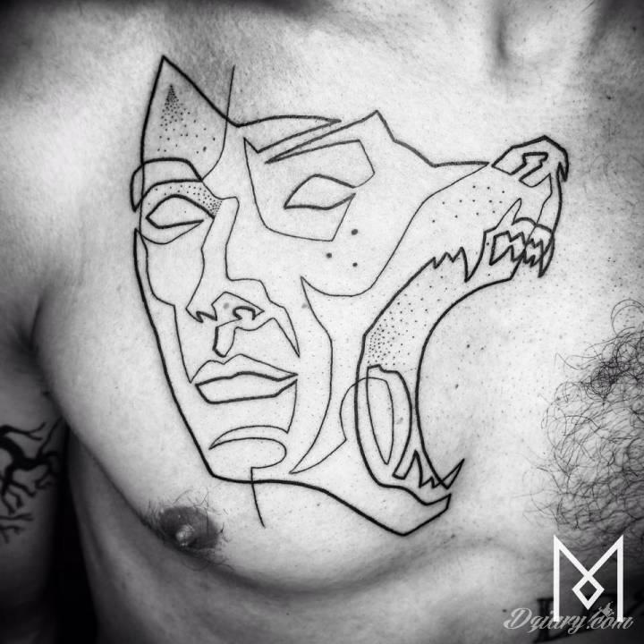 Mo Ganji specjalizuje się w tatuażach kreślonych jedną linią