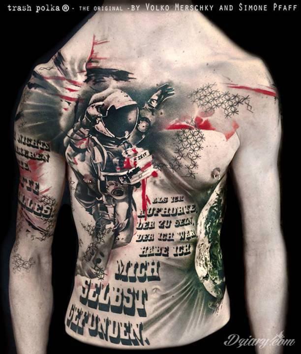 Styl tatuażu: TRASH POLKA (Realistic TRASH POLKA)
