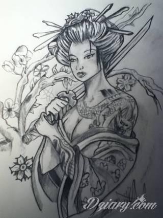 Zmysłowa Geisza - tatuaż niewidzialny