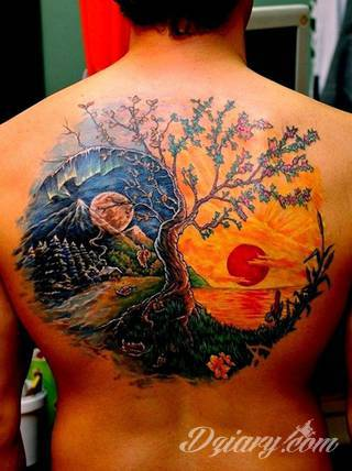 Yin Yang jest namacalnym symbolem równowagi; na ciele podkreśla idealny balans pomiędzy codziennymi siłami dobra i zła. Filozoficzny wymiar tatuaży yin yang może nabierać jednak również humorystycznego charakteru.