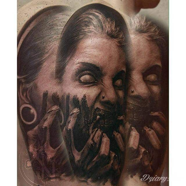 Tatuaże z okiem w centrum to wyjątkowo szeroka gama grafik - zarówno pod kątem kształtów jak i kolorystyki. Oko na skórze może być różne: tajemnicze, groźne, półprzymknięte lub rozwarte niczym w szoku.