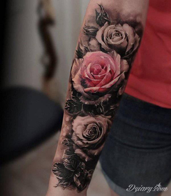 Tattoo Leg Man Rose Flower Black And White: Inspiracje Z Kategorii: Tatuaże Róże