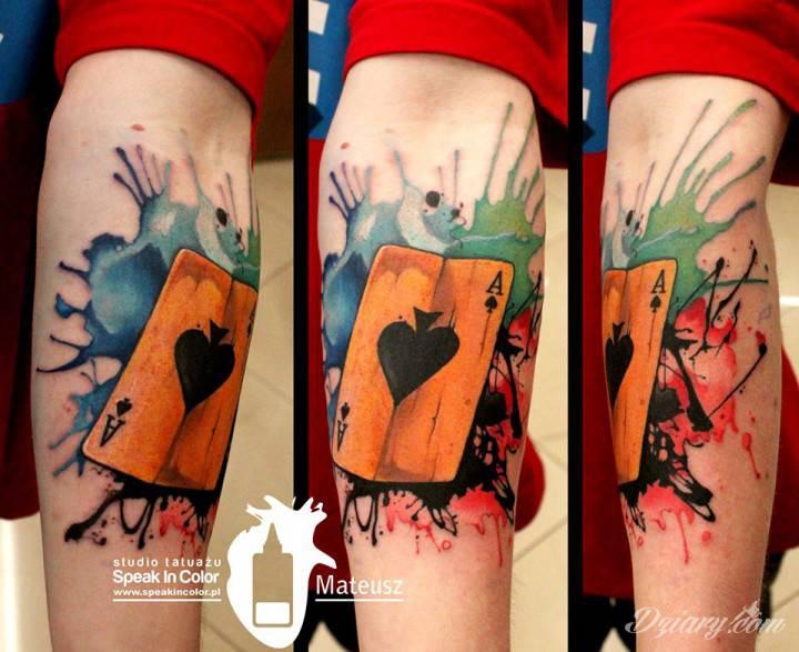 Tatuaż As w watercolorowym...