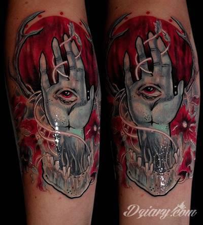 Czarno Czerwony Tatuaż Krwawego Księżycu Ręki Oraz