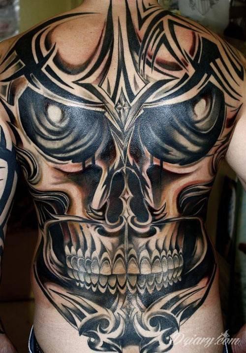 Tatuaż Czaszka + tribal