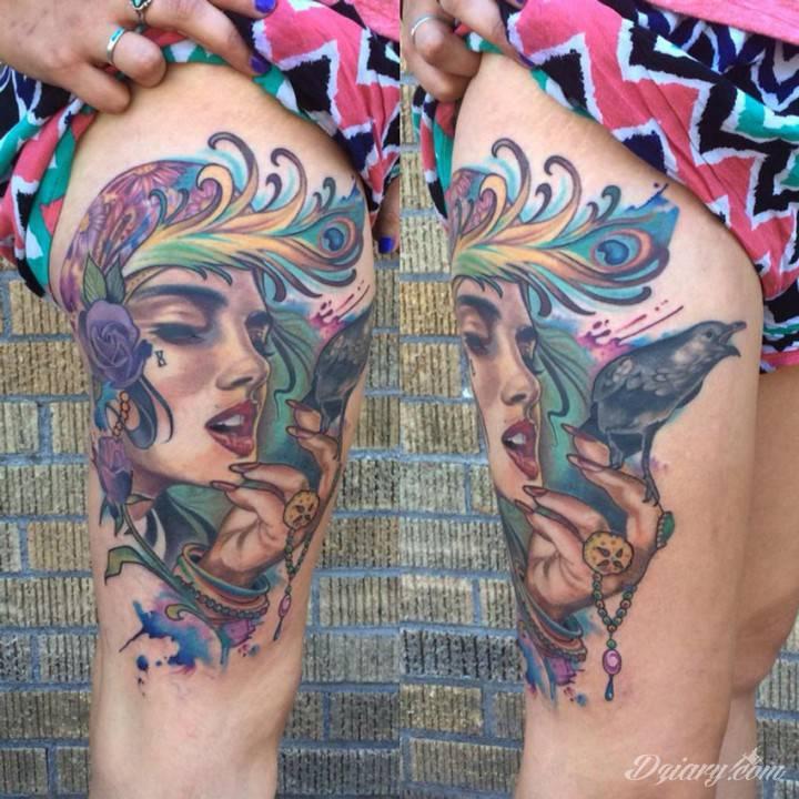 Tatuaż Dziara cyganki trzymającej...