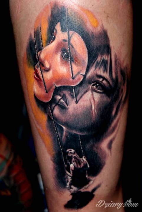 Tatuaż dziewczynka na hustawce