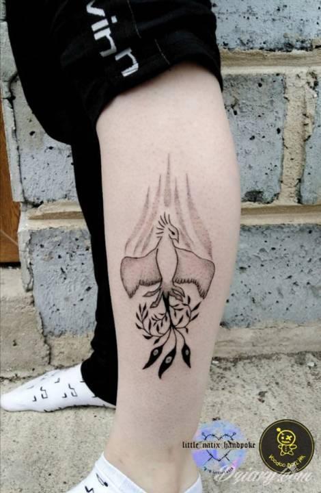 Tatuaż Feniks handpoke