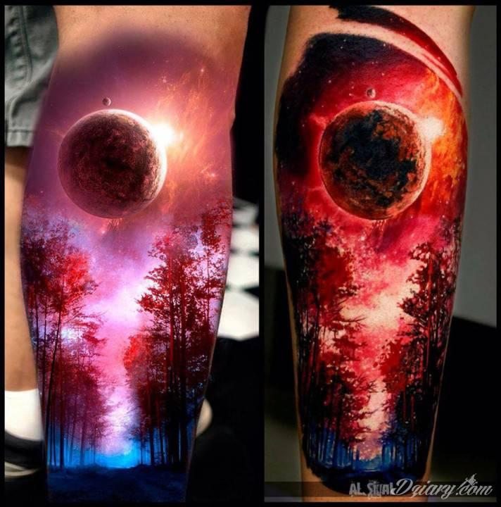 """Hiperrealistyczny tatuaż na łydce wykonany przez Aleksandra """"Sigala"""" Romasheva"""