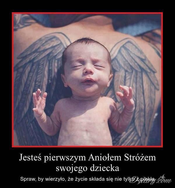 Tatuaż Jesteś pierwszym Aniołem...