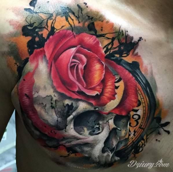 Kolorowy tatuaż czaszki z różą.