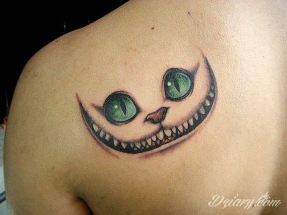 Tatuaż Kot-Dziwak z Cheshire–...