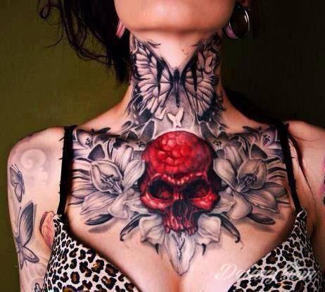 Tatuaż Kwiaty, motyl i...