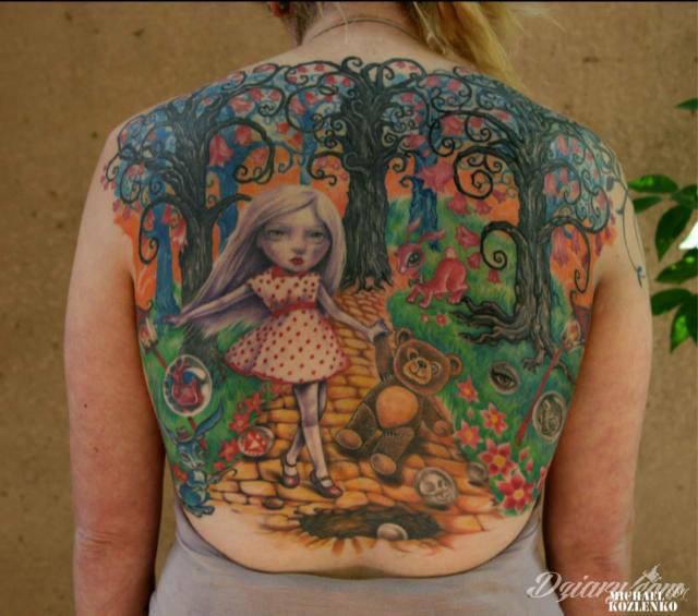 Tatuaż Motyw na plecach.