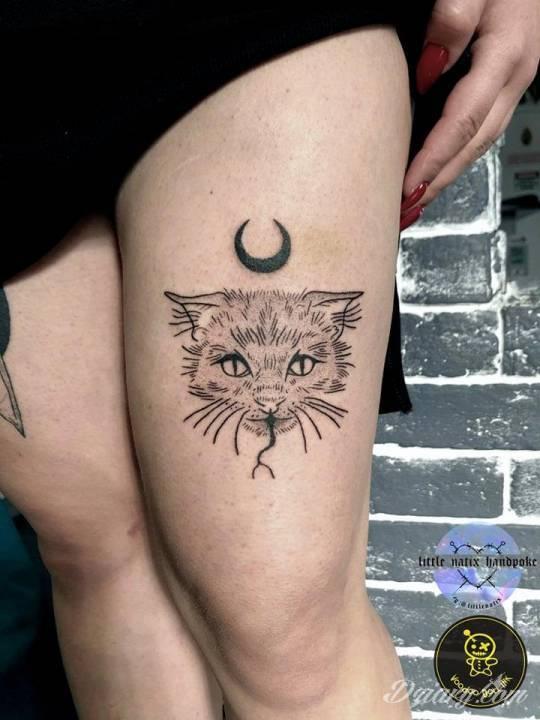 Tatuaż Mroczny kotek