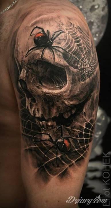 Mroczny Tatuaż Czaszki Porośniętej Obleganymi Przez P