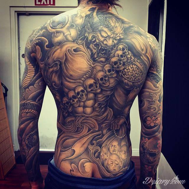 Mroczny Tatuaż Na Plecach Wykonanie Khuong Nguyen