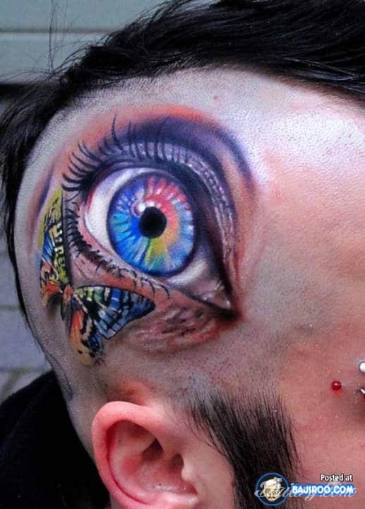 """Niesamowity tatuaż przedstawiający oko, """"na głowie"""" :)"""