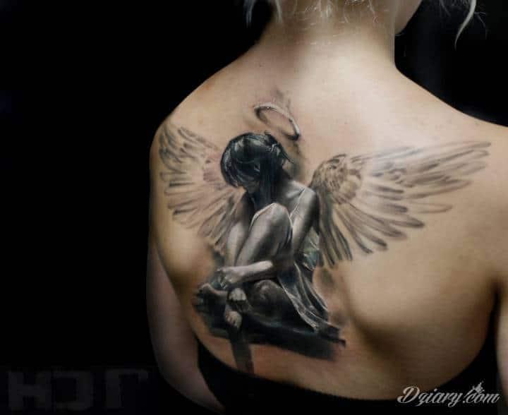 Tatuaż Obraz skrzydlatego anioła...
