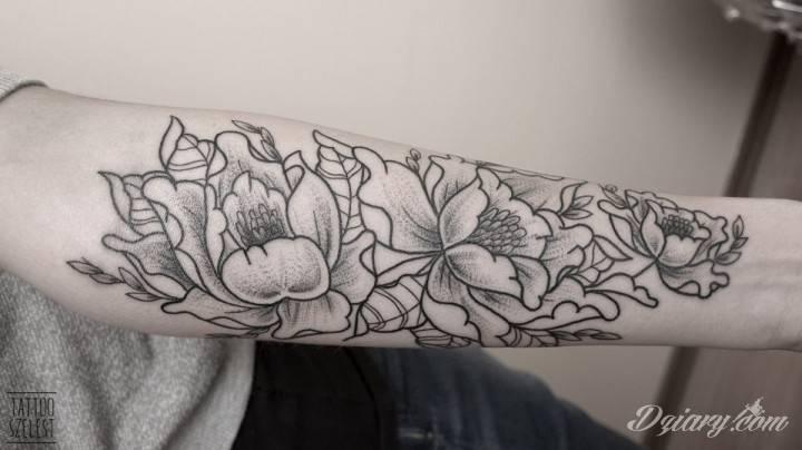 Piwonie, dotwork / Tattoo Szelest