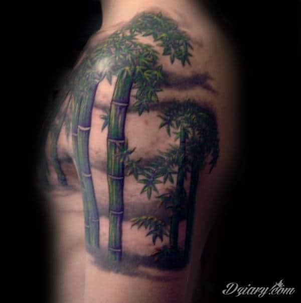 Pole bambusowe na ramieniu i klatce piersiowej.