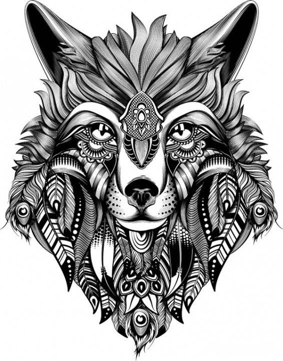 Pomysł na kolejną dziarę, pióra wilk zwierzęta