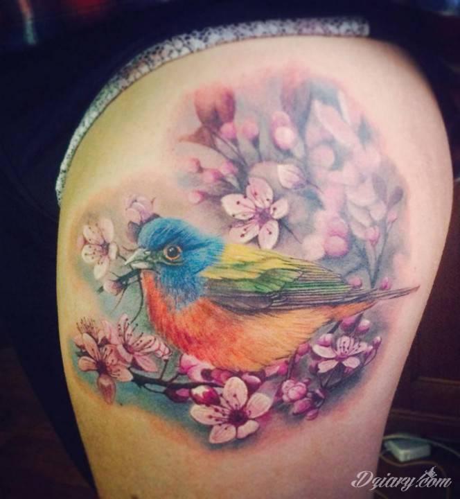 Ptak skryty w kwiatach na udzie.