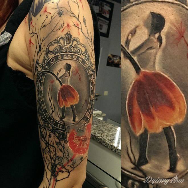 Tatuaż Rękaw z baletnicą...