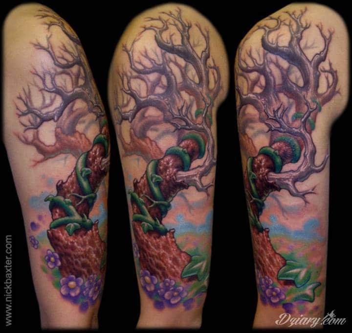 Tatuaż Rękaw z bluszczem...