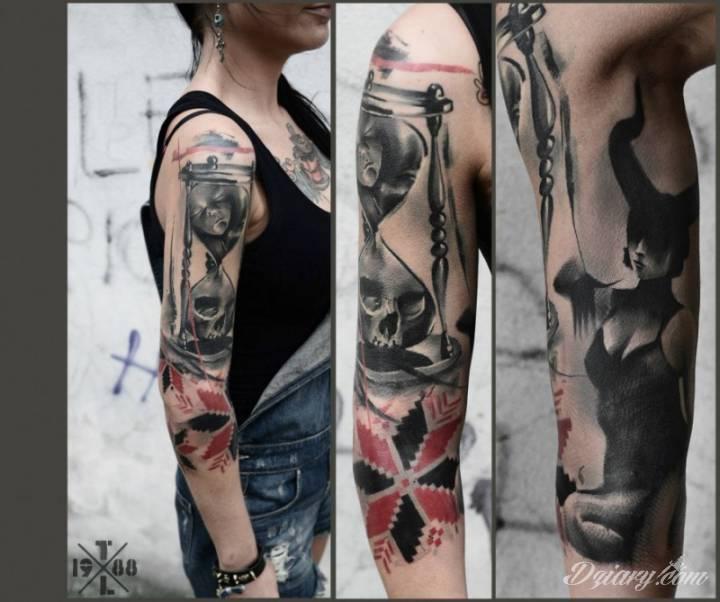 Tatuaż Rękaw z czaszką...