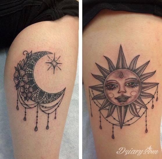 Tatuaż Słońce i księżyc...