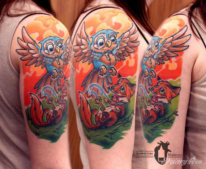 Sowa i lis, rysunkowo - wykonał Meff ze Speak In Color!