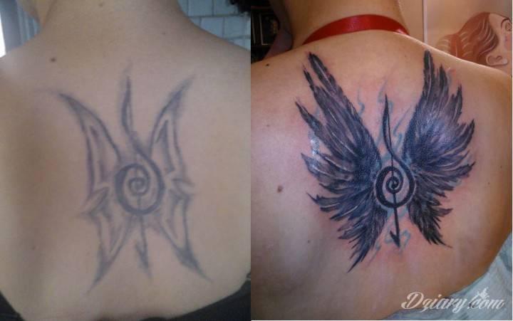 Tak sie konczy robienie tatuazy u znajomego za pol darmo.. na szczeście sa profesjonalisci ktorzy maja cierpliwosc i talent :)