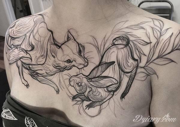 Tatuaż dwóch dzikich kotów na obojczykach.