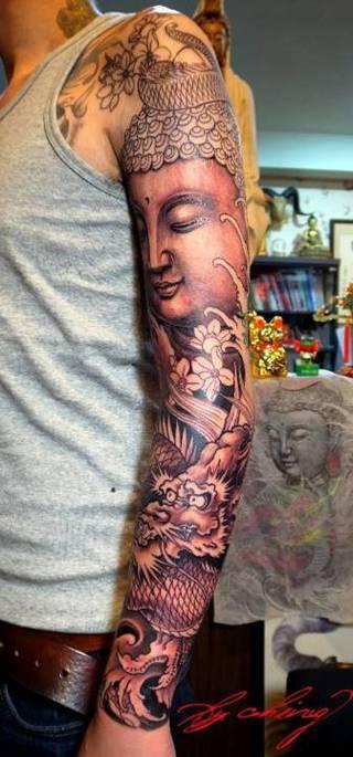 Chińskie motywy buddystyczne jako rękaw.