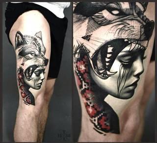 Ciekawy tatuaż na udzie