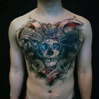 Czaszka z dwoma mieczami wystąjącymi z klatki piersiowej.