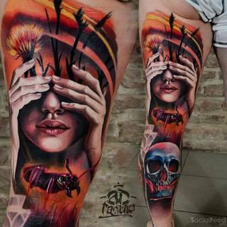 Kolorowy tatuaż na nodze w wykonaniu A.D. Pancho