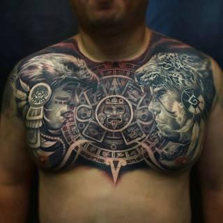 Przykład tatuażu azteckiego. Wykonanie: studio Ab Ink