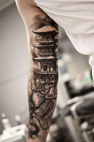 Rękaw z chińskim motywem świątyni.