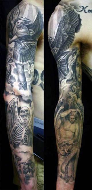 Rękaw z chrześcijańskimi motywami aniołów i szkieletów, symboli śmierci.