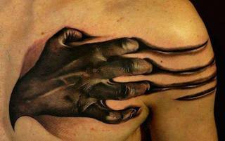 Rozdzierająca skórę dłoń.