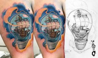 Statek w żarówce - oryginalny motyw wykonany przez Meffa ze studia Speak In Color! https://www.facebook.com/SpeakInColorTattoo