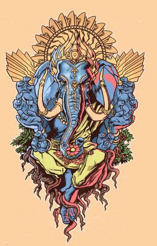 wzór motywu tatuażu, kolorowy słoń