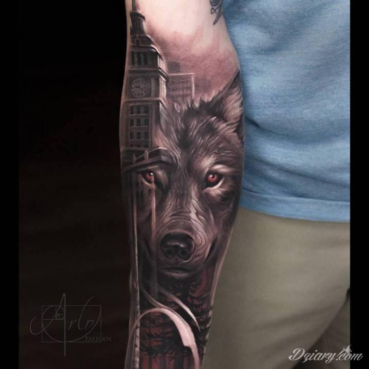 Tatuaż Wilk na przedramieniu...