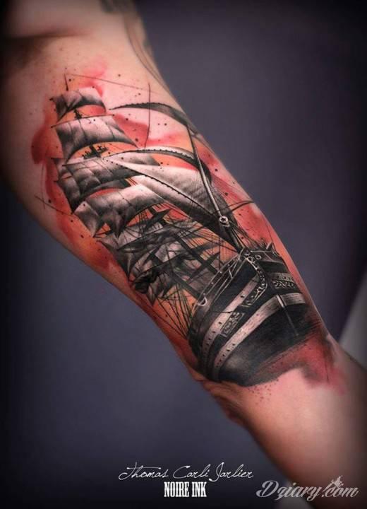 Tatuaż Wizerunek statku gnającego...