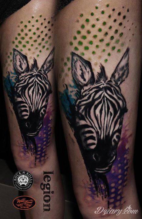 Zebra od Legiona z Rock'n'Roll Tattoo and Piercing Warszawa  Done with World Famous Tattoo Ink