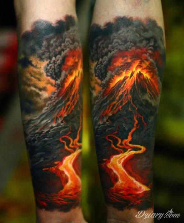 Tatuaż Zostań wulkanem i...